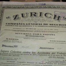 Documentos antiguos: SEGUROS ZURICH, SEGURO COLECTIVO CONTRA ACCIDENTES DE TRABAJO, 1951.. Lote 36251583