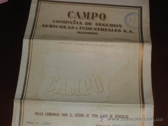 COMPAÑIA DE SEGUROS AGRICOLAS E INDUSTRIALES, CAMPO. MADRID 1948. (Coleccionismo - Documentos - Otros documentos)