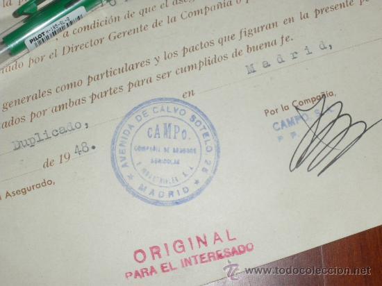Documentos antiguos: COMPAÑIA DE SEGUROS AGRICOLAS E INDUSTRIALES, CAMPO. MADRID 1948. - Foto 2 - 36253746