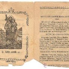 Documentos antiguos: MURCIA-NOVENA DEL GLORIOSO PATRIARCA SAN JOSE-AÑO 1908-ANCHO10,50 CM-ALTO 14 CM. Lote 36267771