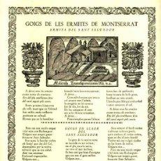 Documentos antiguos: GOIGS DE LES ERMITES DE MONTSERRAT: ERMITA DE SANT SALVADOR (VIVES I SABATE NUM. 514). Lote 36271121