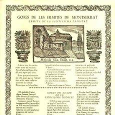 Documentos antiguos: GOIGS DE LES ERMITES DE MONTSERRAT: ERMITA DE LA SANTISSIMA TRINITAT (VIVES I SABATE NUM. 513). Lote 36271139