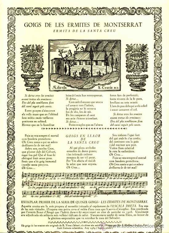 GOIGS DE LES ERMITES DE MONTSERRAT: ERMITA DE LA SANTA CREU (VIVES I SABATE NUM. 511) (Coleccionismo - Documentos - Otros documentos)