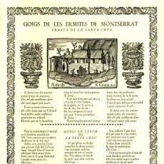 Documentos antiguos: GOIGS DE LES ERMITES DE MONTSERRAT: ERMITA DE LA SANTA CREU (VIVES I SABATE NUM. 511). Lote 36271150