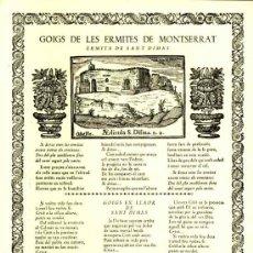 Documentos antiguos: GOIGS DE LES ERMITES DE MONTSERRAT: ERMITA DE SANT DIMAS (VIVES I SABATE NUM. 512). Lote 36271160