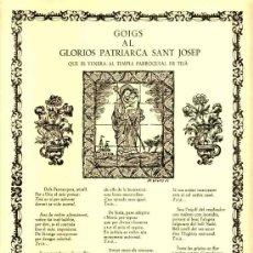 Documentos antiguos: GOIGS AL GLORIOS PATRIARCA SANT JOSEP, QUE ES VENERA A TEIÀ (VIVES I SABATE NUM. 669). Lote 36272284