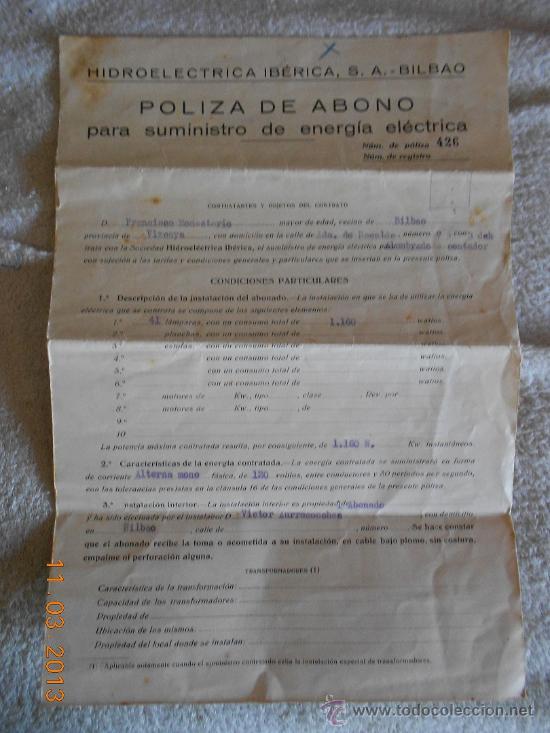 ANTIGUO CONTRATO DE LA LUZ DE 1936 (Coleccionismo - Documentos - Otros documentos)