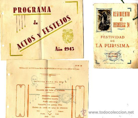 CARTAGENA, REGIMIENTO INFANTERÍA 34 PROGRAMA FESTEJOS 1.943 (Coleccionismo - Documentos - Otros documentos)