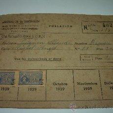 Documentos antiguos: ANTIGUO CARNET.....PLATO UNICO Y DIA SIN POSTRE......AÑO 1939.. Lote 36513672