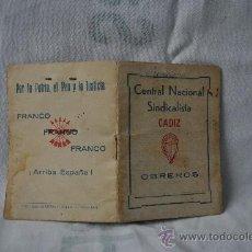 Documentos antiguos: CARNET DEL SINDICATO . Lote 36562587