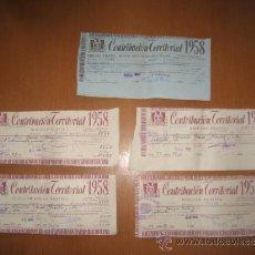 Documentos antiguos: RECIBOS CONTRIBUCION TERRITORIAL 1958 RIQUEZA RUSTICA (4) URBANA (1). Lote 36733970