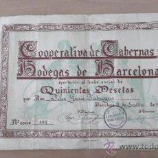 Documentos antiguos: DIPLOMA ACREDITATIVO COOPERATIVA DE TABERNAS Y BODEGAS DE BARCELONA 1947 500 PESETAS. Lote 36900640