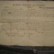 Documentos antiguos: CURIOSO DOCUMENTO DE COMPRA-VENTA DE UN MACHO.SAN MATEO,CASTELLON.AÑO 1908. Lote 36753652