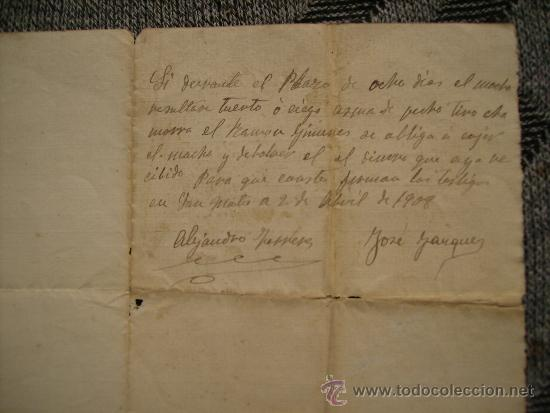 Documentos antiguos: CURIOSO DOCUMENTO DE COMPRA-VENTA DE UN MACHO.SAN MATEO,CASTELLON.AÑO 1908 - Foto 2 - 36753652