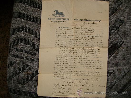 CURIOSO DOCUMENTO DE COMPRA-VENTA DE UN MULO.TORRE ENDOMENECH-SAN MATEO,CASTELLON-AÑO 1912 (Coleccionismo - Documentos - Otros documentos)