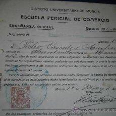 Documentos antiguos: PEDRO CASCALES SANCHEZ DOCUMENTO Y SELLO UNIVERSITARIO MURCIA 1922 COMERCIO . Lote 36777380