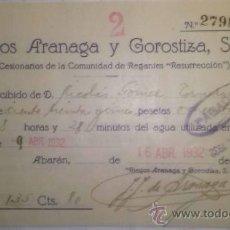 Documentos antiguos: RIEGOS ARANAGA Y GOROSTIZA COMUNIDAD DE REGANTES RESURRECCION ABARAN MURCIA 1932. Lote 36790540