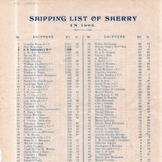 Documentos antiguos: LISTA DE PRECIO DE VINO EN 1905. SHIPPING LIST OF SHERRY IN 1905. Lote 36809760