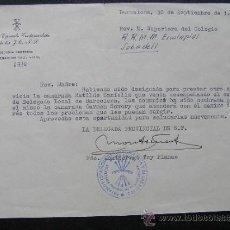 Documentos antiguos: CARTA DE LA FALANGE ( J.O.N.S,) A MADRE SUPERIORA. 1957. Lote 36961978