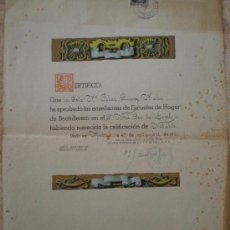Documentos antiguos: 1950 MADRID. SECCION FEMENINA FALANGE. CERTIFICADO ESCUELAS HOGAR BACHILLERATO NUESTRA SEÑORA LORETO. Lote 36944850