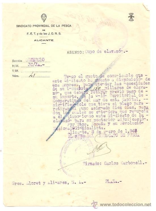 Documentos antiguos: ALICANTE - LOTE DE 10 DOCUMENTOS DE DIFERENTE ENTIDADES SINDICALES AÑOS 40 Y 50 - Foto 2 - 36999170