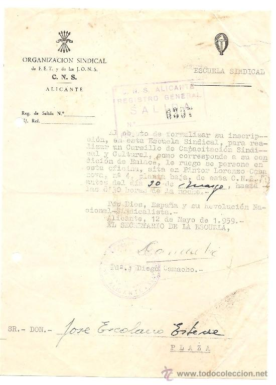 Documentos antiguos: ALICANTE - LOTE DE 10 DOCUMENTOS DE DIFERENTE ENTIDADES SINDICALES AÑOS 40 Y 50 - Foto 5 - 36999170