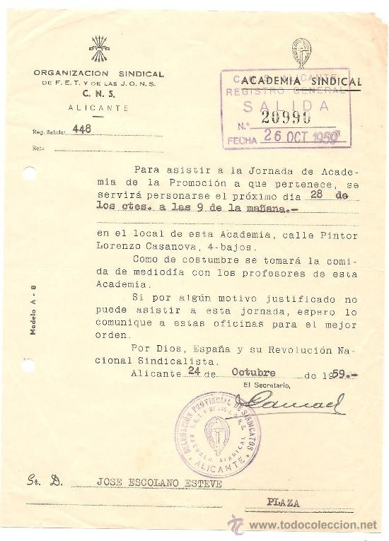 Documentos antiguos: ALICANTE - LOTE DE 10 DOCUMENTOS DE DIFERENTE ENTIDADES SINDICALES AÑOS 40 Y 50 - Foto 7 - 36999170