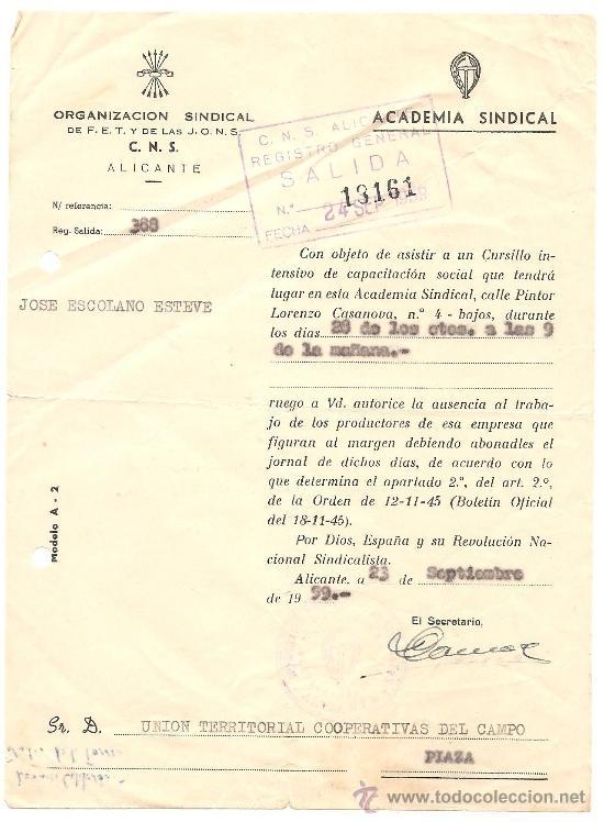 Documentos antiguos: ALICANTE - LOTE DE 10 DOCUMENTOS DE DIFERENTE ENTIDADES SINDICALES AÑOS 40 Y 50 - Foto 8 - 36999170