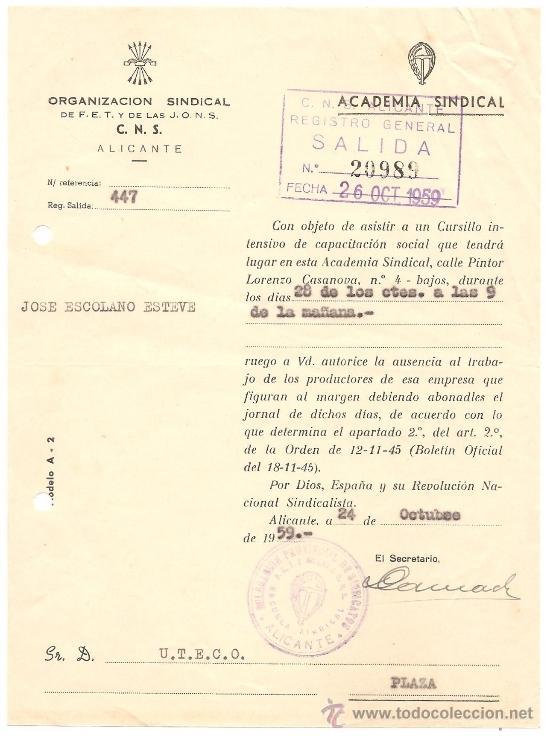 Documentos antiguos: ALICANTE - LOTE DE 10 DOCUMENTOS DE DIFERENTE ENTIDADES SINDICALES AÑOS 40 Y 50 - Foto 9 - 36999170