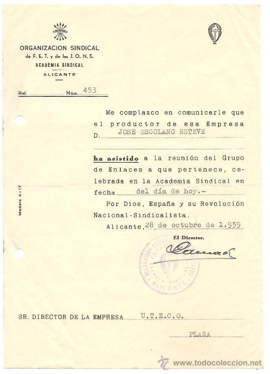 Documentos antiguos: ALICANTE - LOTE DE 10 DOCUMENTOS DE DIFERENTE ENTIDADES SINDICALES AÑOS 40 Y 50 - Foto 10 - 36999170