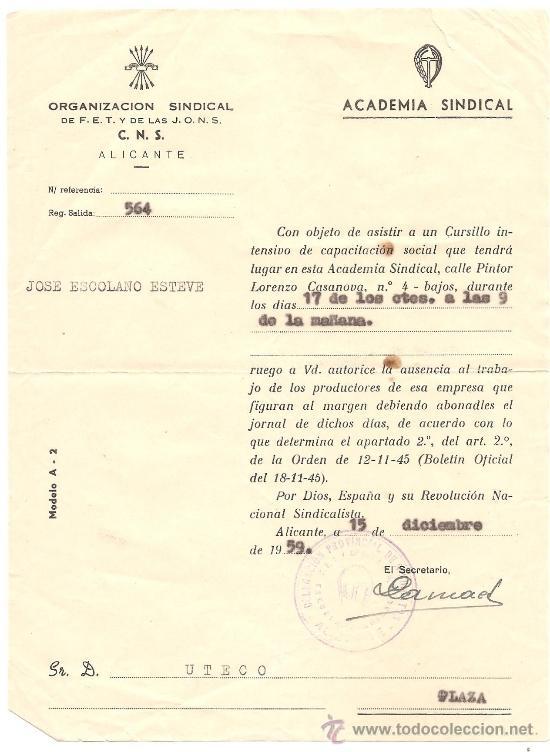 Documentos antiguos: ALICANTE - LOTE DE 10 DOCUMENTOS DE DIFERENTE ENTIDADES SINDICALES AÑOS 40 Y 50 - Foto 11 - 36999170
