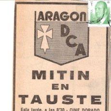Documents Anciens: DEMOCRACIA CRISTIANA ARAGONESA.ARAGÓN DCA.MITIN TAUSTE.ELECCIONES 1977.RECORTE PRENSA. PUBLICIDAD.. Lote 37036560