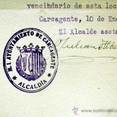 Documentos antiguos: DOCUMENTO ALCALDIA,. AYUNTAMIENTO DE CARCAGENTE. XIX CENTENARIO. VENIDA VIRGEN DEL PILAR. 1940. Lote 37120702