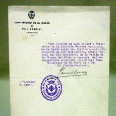 Documentos antiguos: DOCUMENTO ALCALDIA,. AYUNTAMIENTO VILLARREAL. DELEGADO XIX CENTENARIO VENIDA VIRGEN DEL PILAR. 1940. Lote 37136420