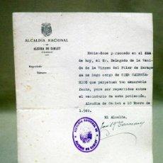 Documentos antiguos: DOCUMENTO ALCALDIA,. AYUNTAMIENTO CARLET. DELEGADO XIX CENTENARIO VENIDA VIRGEN DEL PILAR. 1940. Lote 37136443