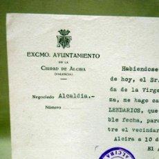 Documentos antiguos: DOCUMENTO ALCALDIA,. AYUNTAMIENTO ALCIRA. DELEGADO XIX CENTENARIO VENIDA VIRGEN DEL PILAR. 1940. Lote 37136474