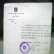 Documentos antiguos: DOCUMENTO ALCALDIA,. AYUNTAMIENTO PICASENT. DELEGADO XIX CENTENARIO VENIDA VIRGEN DEL PILAR. 1940. Lote 37136551