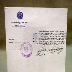 Documentos antiguos: DOCUMENTO ALCALDIA. AYUNTAMIENTO BENIPARRELL. DELEGADO XIX CENTENARIO VENIDA VIRGEN DEL PILAR. 1940. Lote 37136625