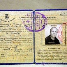 Documentos antiguos: CARNET DE IDENTIDAD PARA HUERTANO. AYUNTAMIENTO DE VALENCIA. ABASTOS. 1945. Lote 37255034
