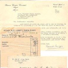Documentos antiguos: ALICANTE - LOTE 3 DOCUMENTOS DE NOTARIOS Y ABOGADOS DE ALICANTE AÑOS 20, 50 Y 60. Lote 37078837