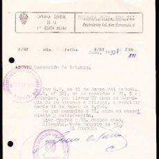 Documentos antiguos: CONCESIÓN DE TRIENIO CAPITANÍA GENERAL DE LA PRIMERA REGIÓN MILITAR 1966. Lote 37087378