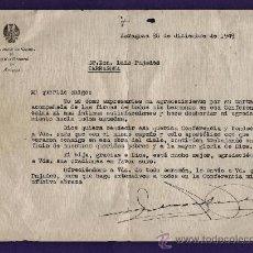Documentos antiguos: CARTA - AYUDANTE CAMPO CAPITAN GENERAL DE ARAGON AL LUIS PUJADES / TARRAGONA/ TGN - AÑO 1949N - JEM. Lote 37183449