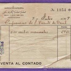 Documentos antiguos: ALBARANES - IMPRENTA SUC. R. GABRIEL GIBERT / CONF. S.VICENTE PAUL - TARRAGONA / TGN -AÑO 1949 - JEM. Lote 37183942