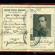 Documentos antiguos: *** CARNET DEL COLEGIO PERICIAL MERCANTIL, SEVILLA 1937 PROFESOR INTENDENTE ***. Lote 37229897