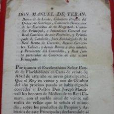 Documentos antiguos: CARAT DEL BARON DE LINDE 1784 BARCELONA. Lote 37304598