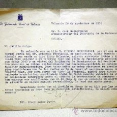 Documentos antiguos: CARTA GOBERNADOR CIVIL VALENCIA. AL ADMINISTRADOR SANATORIO MALVARROSA. DENEGANDO TRABAJO . Lote 37360356