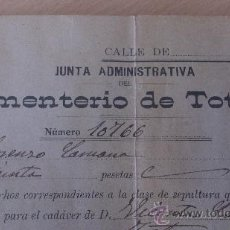 Documentos antiguos: ANTIGUO DOCUMENTO SEPULTURA NICHO CEMENTERIO DE TOTANA MURCIA 1920. Lote 37342437
