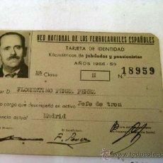 Documentos antiguos: CARNET RED NACIONAL DE FERROCARRILES, CARNET JUBILADO JEFE DE TREN. Lote 37398559
