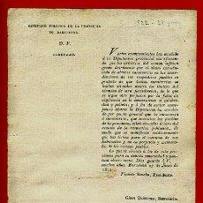 Documentos antiguos: DOCUMENTO POLITICO BARCELONA, CIRCULAR , 1822 , ORIGINAL , C1. Lote 37505852