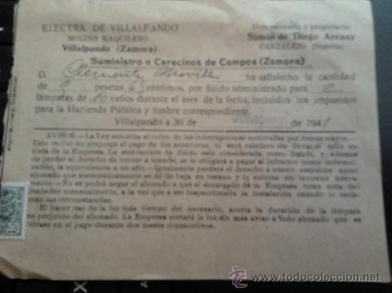 RECIBO DE PAGO DE ELECTRA DE VILLALPANDO DE 1941 (Coleccionismo - Documentos - Otros documentos)